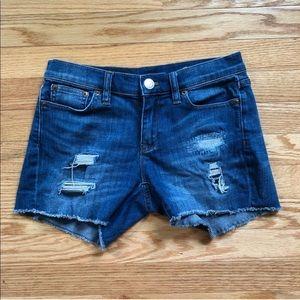 J Crew Indigo Distressed Cut Off Jean Shorts Sz 25